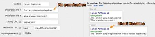 长标题无效时广告的显示情况