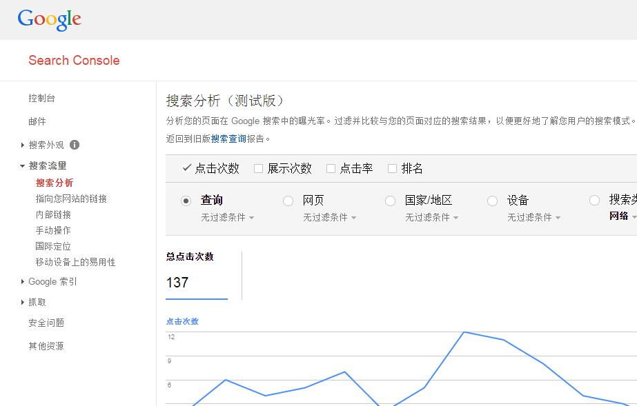 Google Search Console中的Search Analytics