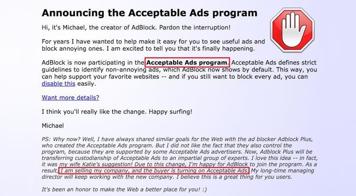 广告屏蔽插件AdBlock被神秘收购