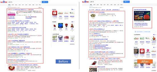 """""""上海订花""""检索结果的前后对比,框中为广告"""