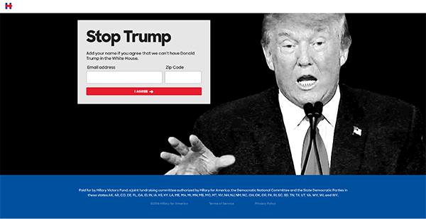 希拉里·克林顿竞选网站着陆页