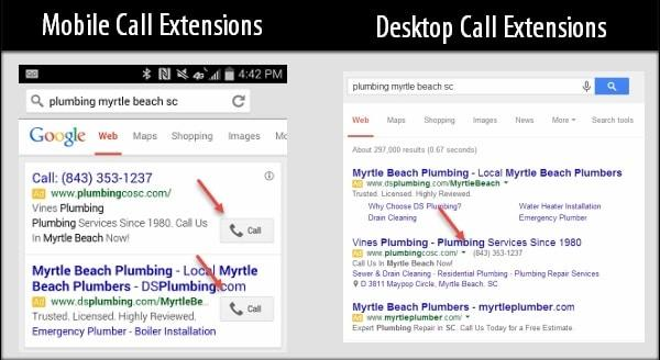 AdWords电话扩展广告示例