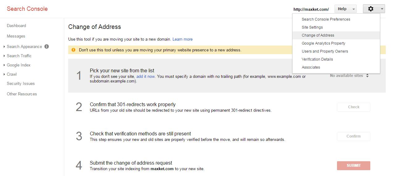 如何在Google Search Console提交域名更改通知