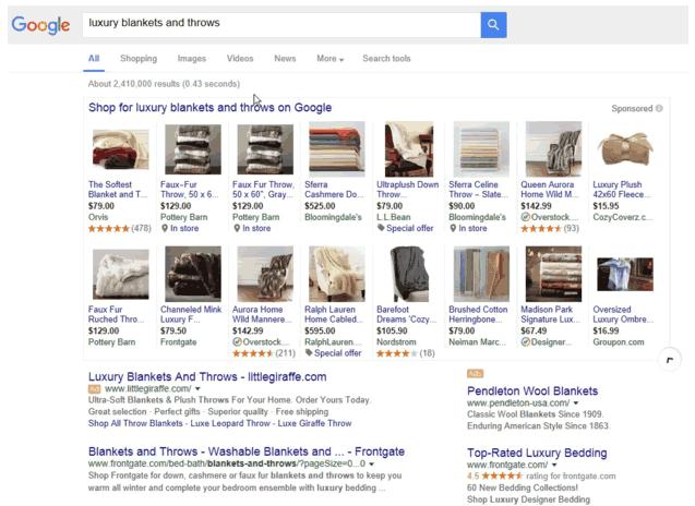 谷歌PLA是谷歌桌面右侧栏唯一存活的广告样式