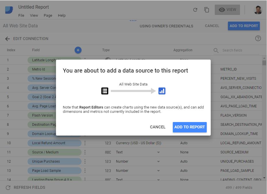 通过ADD TO REPORT这个数据源就添加好了