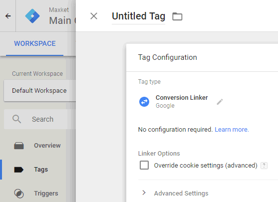 在GTM中添加Conversion Linker